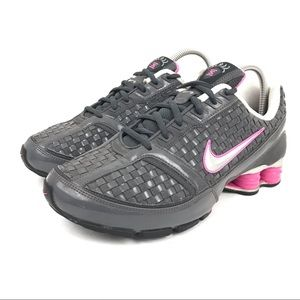 Nike Shox Reveal gray pink weave running shoes